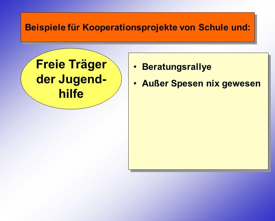 Beispiele für Kooperationsprojekte von Schule und: Freie Träger der Jugend- hilfe Beratungsrallye Außer Spesen nix gewesen