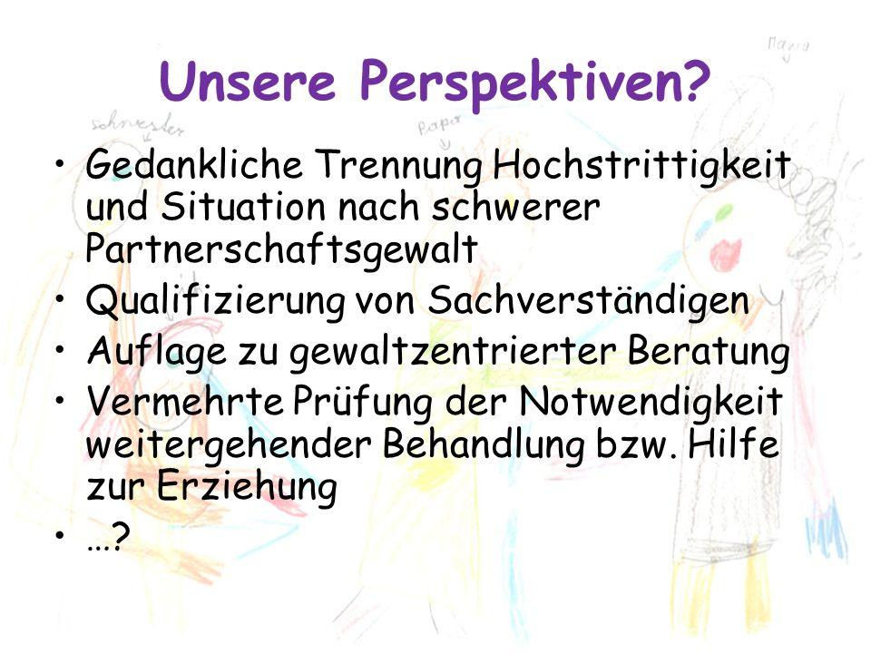 Unsere Perspektiven? Gedankliche Trennung Hochstrittigkeit und Situation nach schwerer Partnerschaftsgewalt Qualifizierung von Sachverständigen Auflag