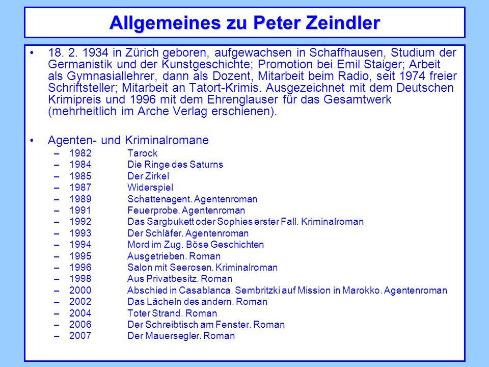 Allgemeines zu Peter Zeindler 18. 2.