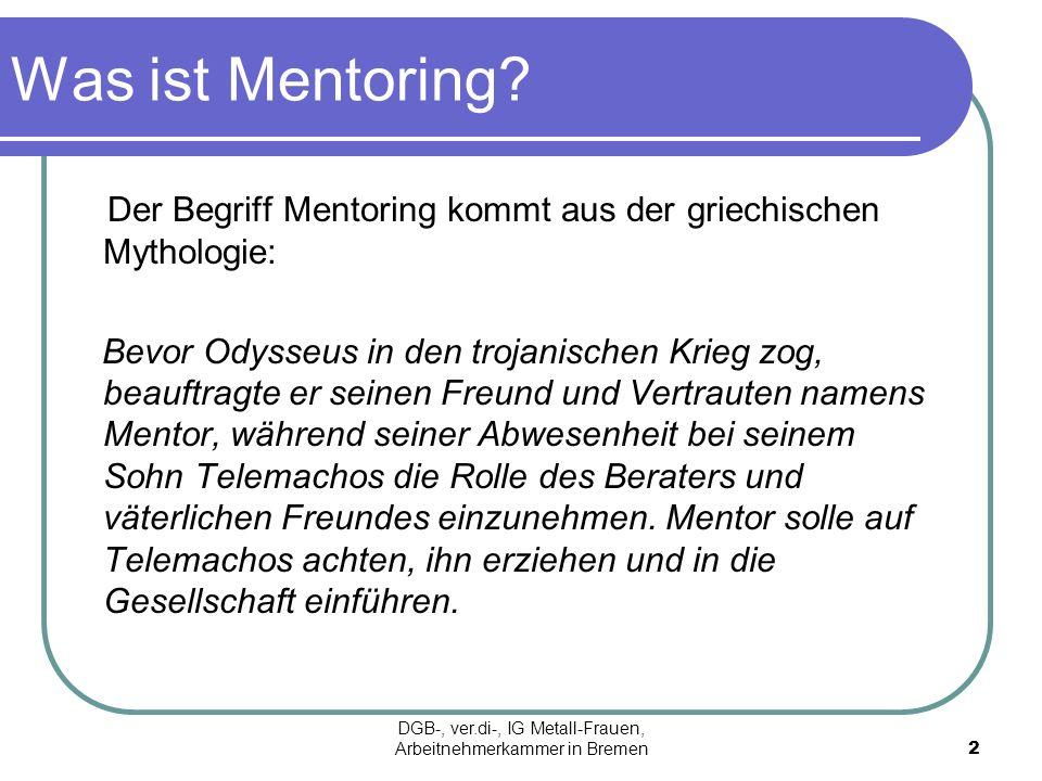 Wie funktioniert Mentoring Eine erfahrene Personalrätin/ Betriebsrätin oder Mitarbeitervertreterin (Mentorin) berät über einen längeren Zeitraum eine jüngere, Kollegin (Mentee) in der Arbeit als Vertreterin der MitarbeiterInnen.