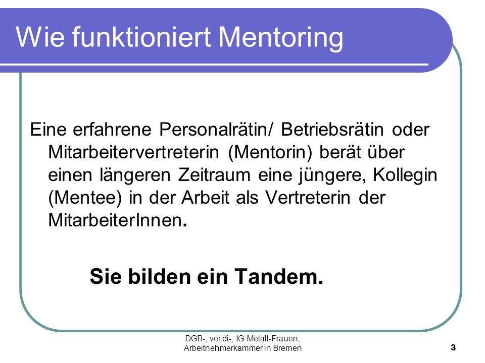 Wie funktioniert Mentoring Eine erfahrene Personalrätin/ Betriebsrätin oder Mitarbeitervertreterin (Mentorin) berät über einen längeren Zeitraum eine