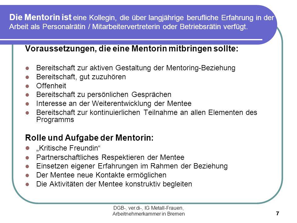 Die Mentorin ist eine Kollegin, die über langjährige berufliche Erfahrung in der Arbeit als Personalrätin / Mitarbeitervertreterin oder Betriebsrätin