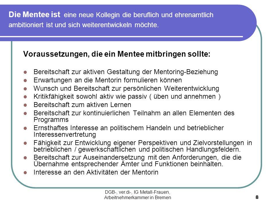 Tandembildung Mentoring-Beziehung: Die Entwicklung der Mentee steht im Zentrum, so dass der aktive Part auch bei der Mentee liegen muss.