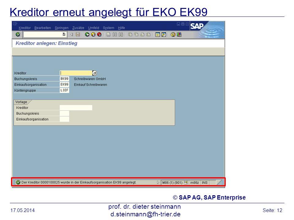 Kreditor erneut angelegt für EKO EK99 17.05.2014 prof. dr. dieter steinmann d.steinmann@fh-trier.de Seite: 12 © SAP AG, SAP Enterprise