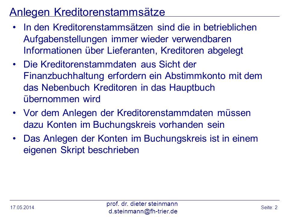 Einstieg Stammdaten anlegen Lieferant 17.05.2014 prof.