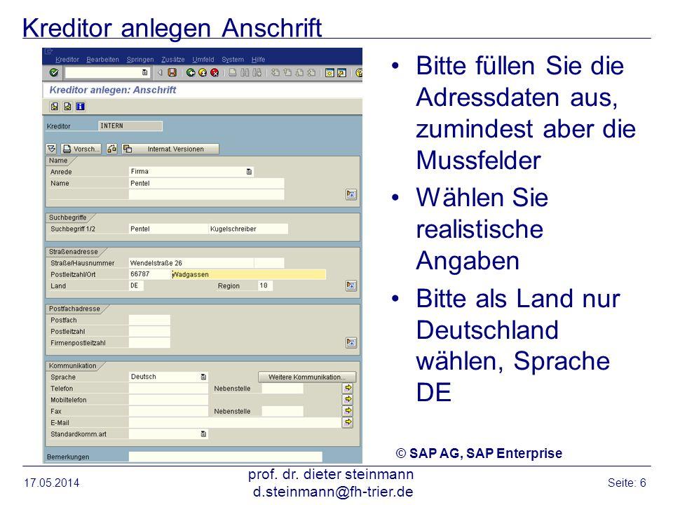 Kreditor anlegen: Kontoführung Buchhaltung 17.05.2014 prof.