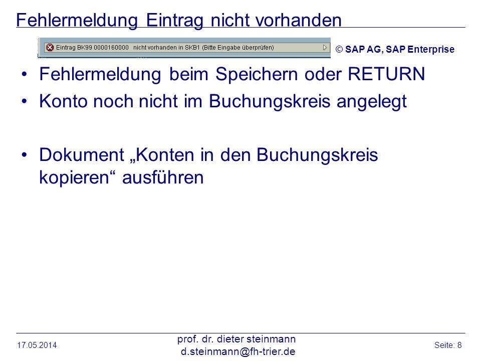 Fehlermeldung Eintrag nicht vorhanden Fehlermeldung beim Speichern oder RETURN Konto noch nicht im Buchungskreis angelegt Dokument Konten in den Buchu