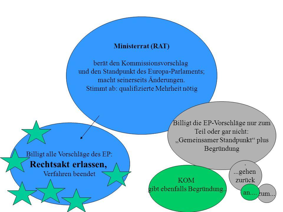 EP bearbeitet den Standpunkt des Rats Abstimmung erst in den Ausschüssen, dann im Plenum; absolute Mehrheit erforderlich Zweite Lesung Dauer: 3 (max.4) Monate Ablehnung mit absoluter Mehrheit: Rechtsakt gescheitert, Verfahren beendet Abänderungen mit absoluter Mehrheit.