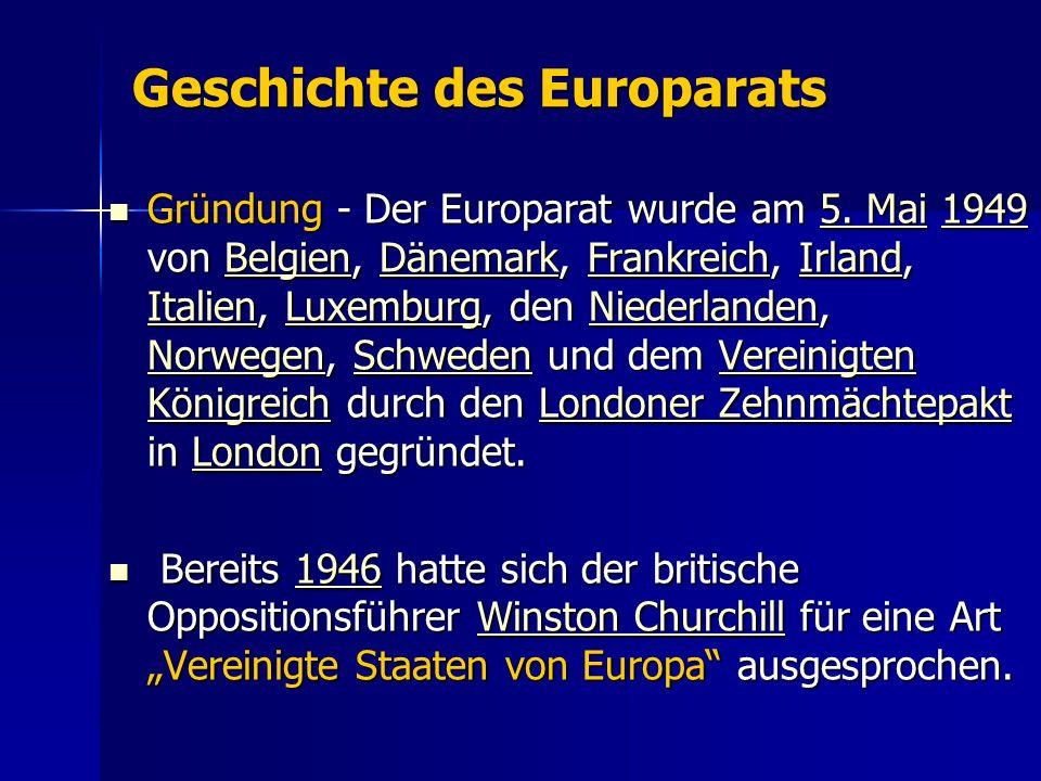 Geschichte des Europarats Gründung - Der Europarat wurde am 5.