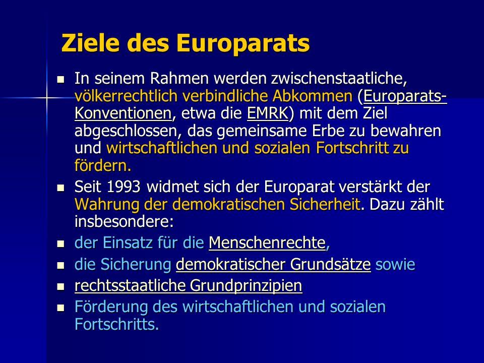 Ziele des Europarats In seinem Rahmen werden zwischenstaatliche, völkerrechtlich verbindliche Abkommen (Europarats- Konventionen, etwa die EMRK) mit dem Ziel abgeschlossen, das gemeinsame Erbe zu bewahren und wirtschaftlichen und sozialen Fortschritt zu fördern.
