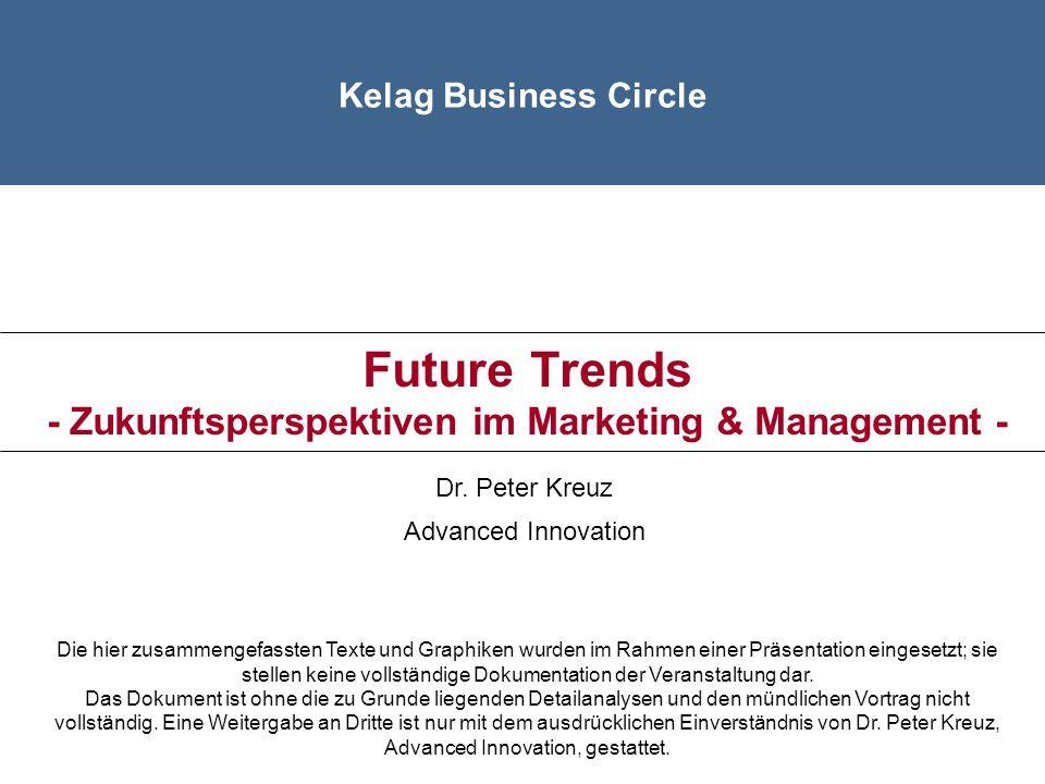 Übersicht Bedeutung Zukunftsmanagement Die Zukunft erkennen - Die wichtigsten kundenbezogenen Trends Die Zukunft schaffen - Die wichtigsten Denkansätze Zusammenfassung