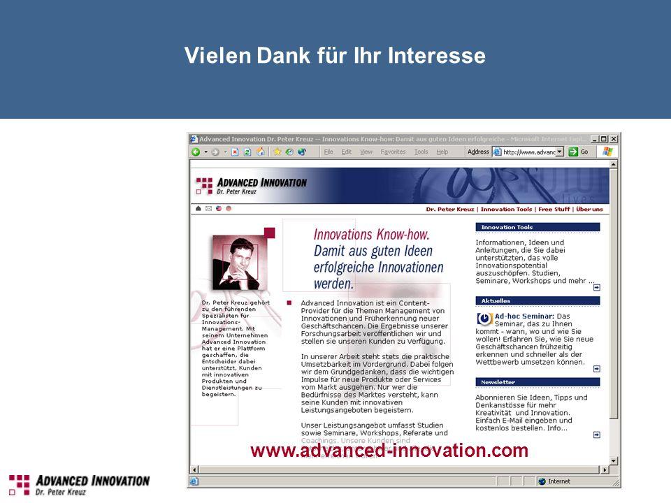Vielen Dank für Ihr Interesse www.advanced-innovation.com