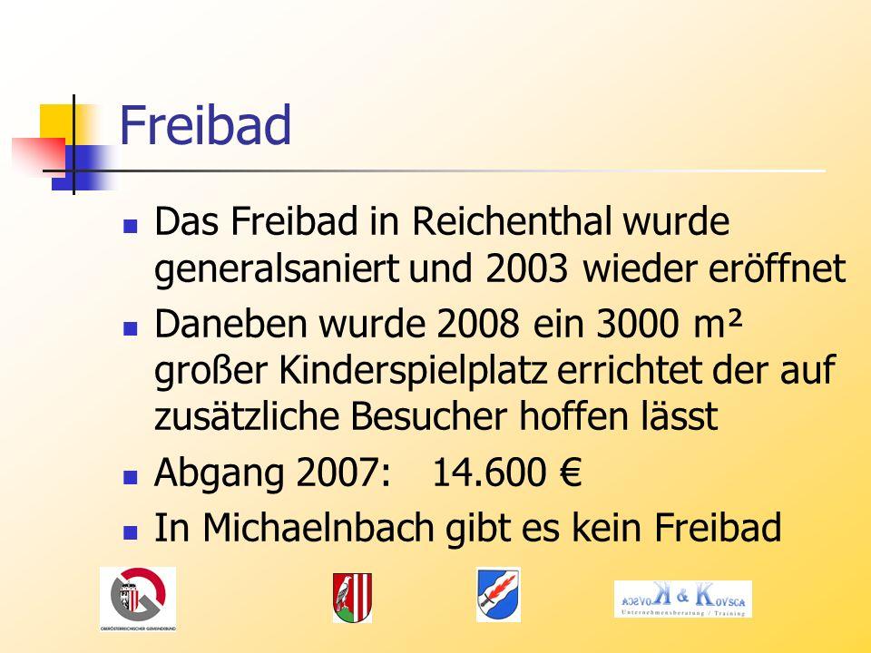 Freibad Das Freibad in Reichenthal wurde generalsaniert und 2003 wieder eröffnet Daneben wurde 2008 ein 3000 m² großer Kinderspielplatz errichtet der auf zusätzliche Besucher hoffen lässt Abgang 2007: 14.600 In Michaelnbach gibt es kein Freibad