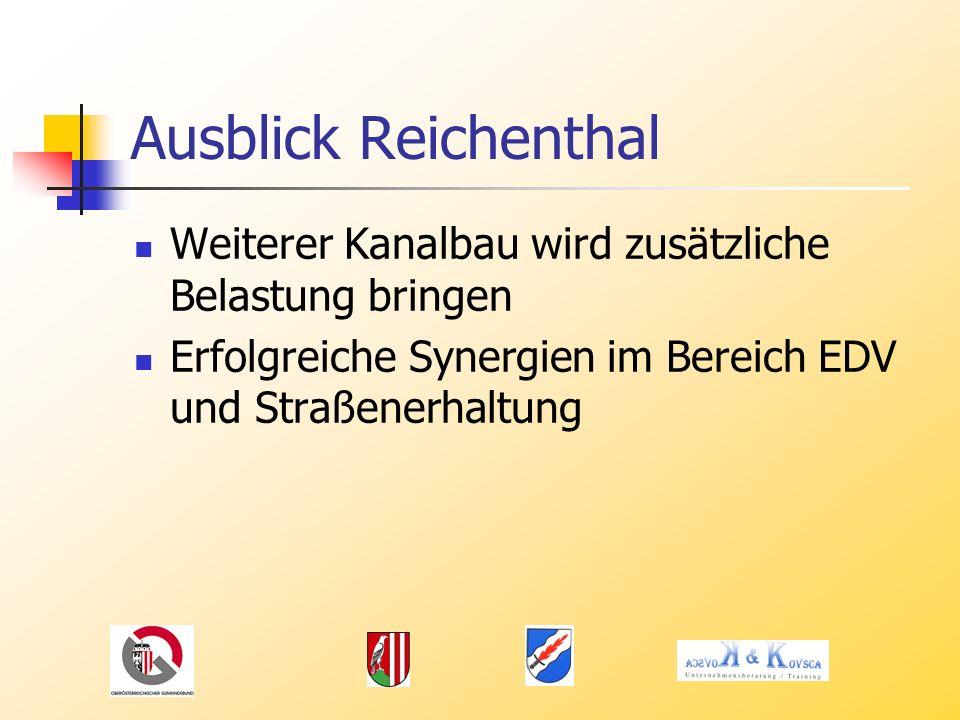 Ausblick Reichenthal Weiterer Kanalbau wird zusätzliche Belastung bringen Erfolgreiche Synergien im Bereich EDV und Straßenerhaltung