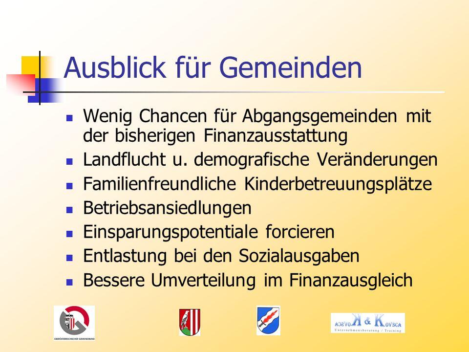 Ausblick für Gemeinden Wenig Chancen für Abgangsgemeinden mit der bisherigen Finanzausstattung Landflucht u.