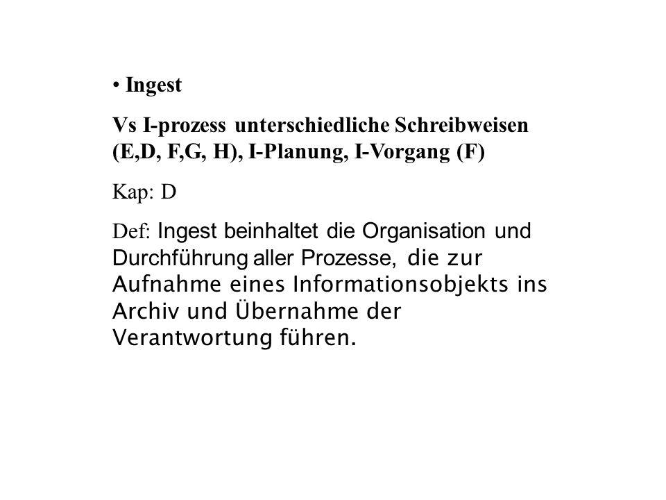 Ingest Vs I-prozess unterschiedliche Schreibweisen (E,D, F,G, H), I-Planung, I-Vorgang (F) Kap: D Def: Ingest beinhaltet die Organisation und Durchfüh