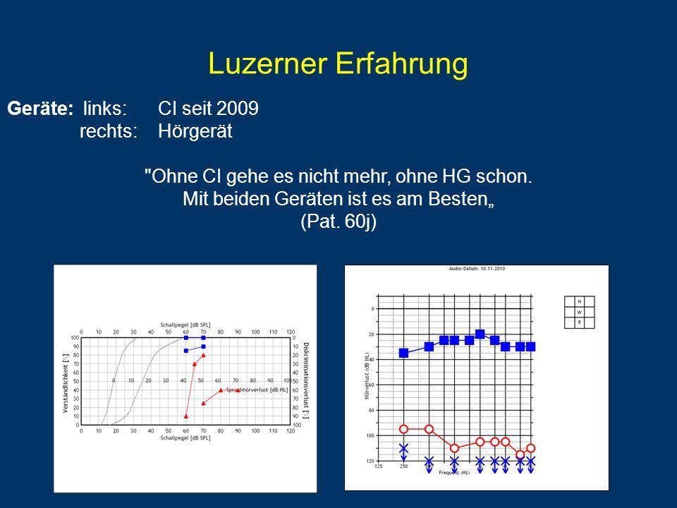 Luzerner Erfahrung Geräte: links: CI seit 2009 rechts: Hörgerät