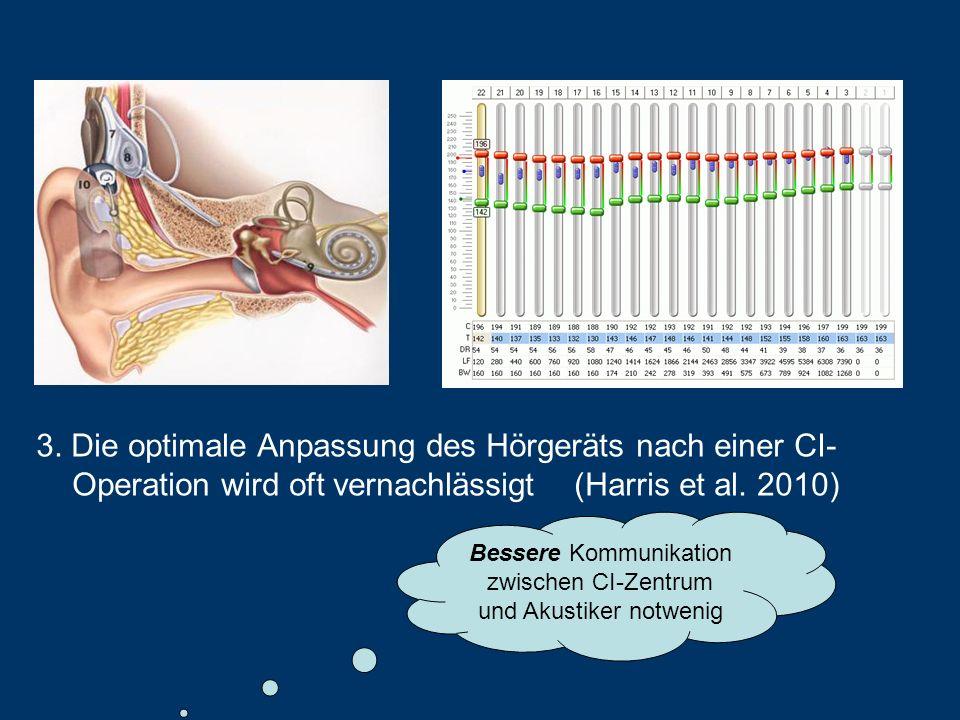 3. Die optimale Anpassung des Hörgeräts nach einer CI- Operation wird oft vernachlässigt (Harris et al. 2010) Bessere Kommunikation zwischen CI-Zentru