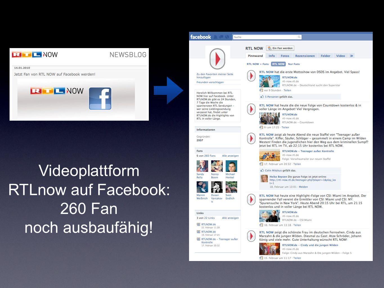 Videoplattform RTLnow auf Facebook: 260 Fan noch ausbaufähig!