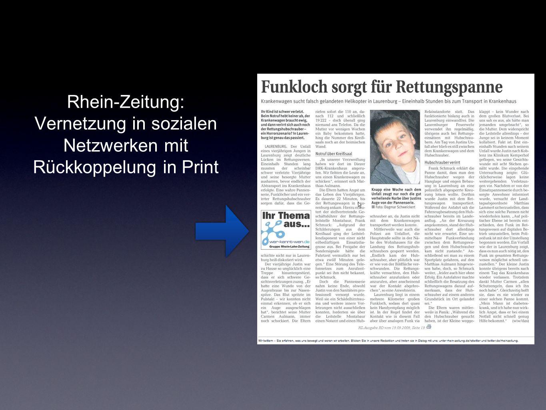 Rhein-Zeitung: Vernetzung in sozialen Netzwerken mit Rückkoppelung in Print