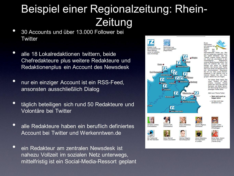 Beispiel einer Regionalzeitung: Rhein- Zeitung 30 Accounts und über 13.000 Follower bei Twitter alle 18 Lokalredaktionen twittern, beide Chefredakteure plus weitere Redakteure und Redaktionenplus ein Account des Newsdesk nur ein einziger Account ist ein RSS-Feed, ansonsten ausschließlich Dialog täglich beteiligen sich rund 50 Redakteure und Volontäre bei Twitter alle Redakteure haben ein beruflich definiertes Account bei Twitter und Werkenntwen.de ein Redakteur am zentralen Newsdesk ist nahezu Vollzeit im sozialen Netz unterwegs, mittelfristig ist ein Social-Media-Ressort geplant