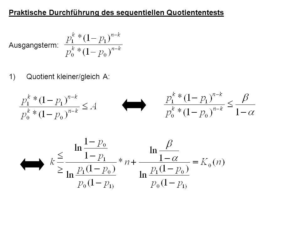 Praktische Durchführung des sequentiellen Quotiententests Ausgangsterm: 1)Quotient kleiner/gleich A: