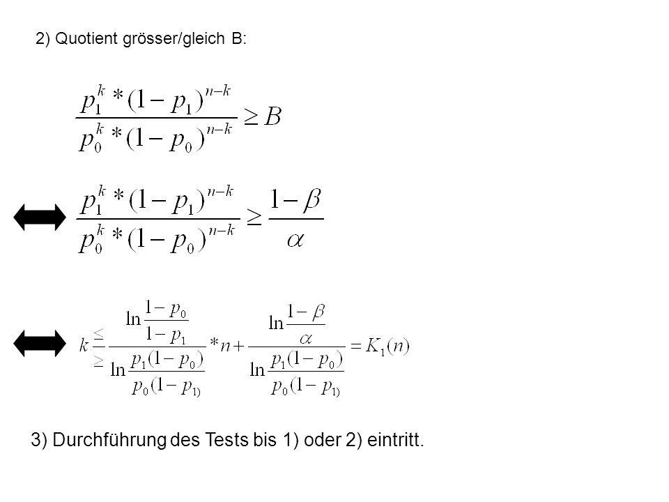 2) Quotient grösser/gleich B: 3) Durchführung des Tests bis 1) oder 2) eintritt.