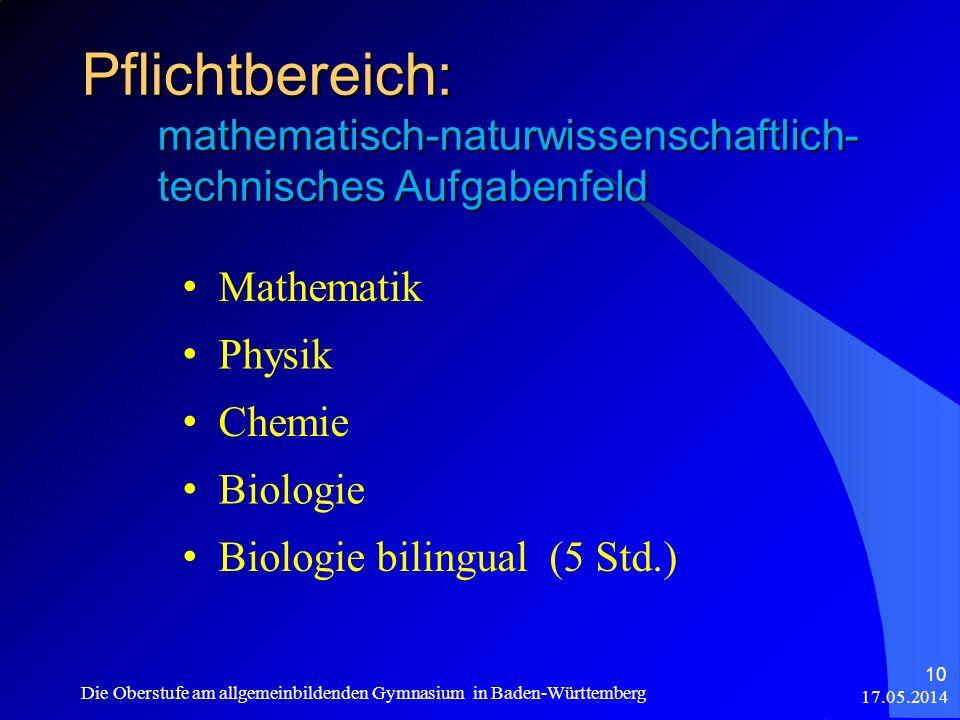 Pflichtbereich: mathematisch-naturwissenschaftlich- technisches Aufgabenfeld Mathematik Physik Chemie Biologie Biologie bilingual (5 Std.) 17.05.2014