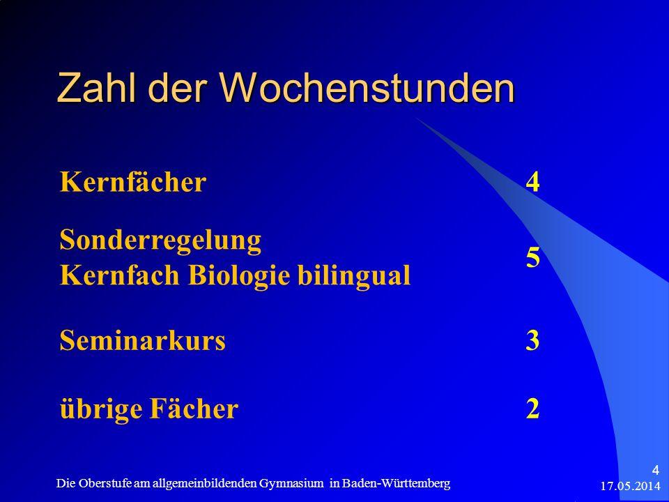 Zahl der Wochenstunden Kernfächer4 Sonderregelung Kernfach Biologie bilingual 5 Seminarkurs3 übrige Fächer2 17.05.2014 Die Oberstufe am allgemeinbilde