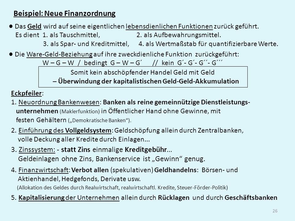 26 Beispiel: Neue Finanzordnung Das Geld wird auf seine eigentlichen lebensdienlichen Funktionen zurück geführt. Es dient 1. als Tauschmittel, 2. als