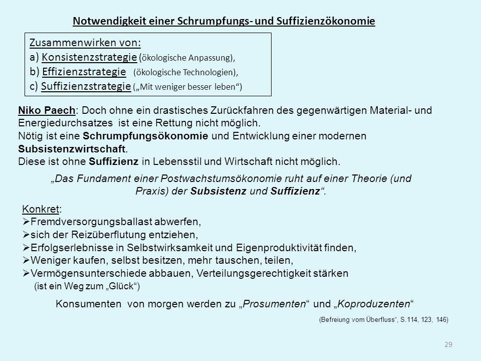 29 Notwendigkeit einer Schrumpfungs- und Suffizienzökonomie Niko Paech: Doch ohne ein drastisches Zurückfahren des gegenwärtigen Material- und Energie