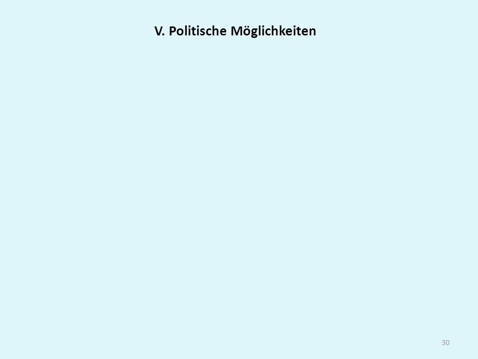 30 V. Politische Möglichkeiten