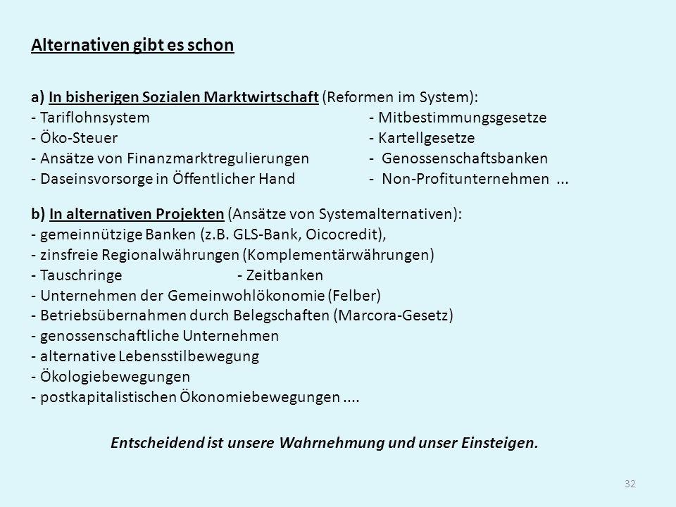 32 Alternativen gibt es schon a) In bisherigen Sozialen Marktwirtschaft (Reformen im System): - Tariflohnsystem - Mitbestimmungsgesetze - Öko-Steuer -