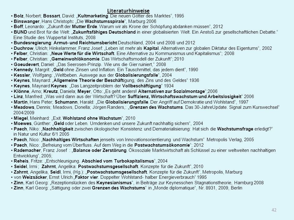 Literaturhinweise 42 Bolz, Norbert; Bossart, David: Kultmarketing. Die neuen Götter des Marktes, 1995 Binswanger, Hans Christoph: Die Wachstumsspirale