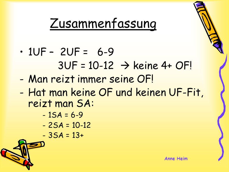 Zusammenfassung 1UF – 2UF = 6-9 3UF =10-12 keine 4+ OF! -Man reizt immer seine OF! -Hat man keine OF und keinen UF-Fit, reizt man SA: -1SA = 6-9 -2SA