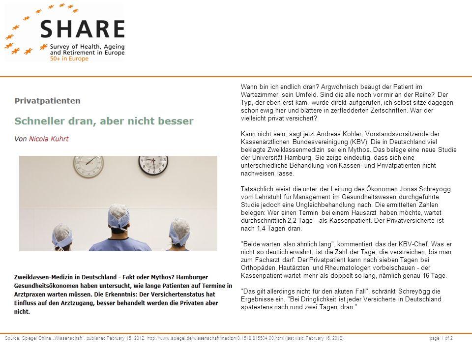 Source: Spiegel Online Wissenschaft, published February 15, 2012, http://www.spiegel.de/wissenschaft/medizin/0,1518,815504,00.html (last visit: February 16, 2012) page 2 of 2 Wer es in die Praxis geschafft hat, sitzt auch dort unterschiedlich lange.