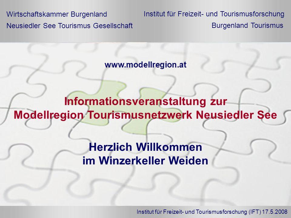 Institut für Freizeit- und Tourismusforschung (IFT) 17.5.2008 Herzlich Willkommen im Winzerkeller Weiden Informationsveranstaltung zur Modellregion To
