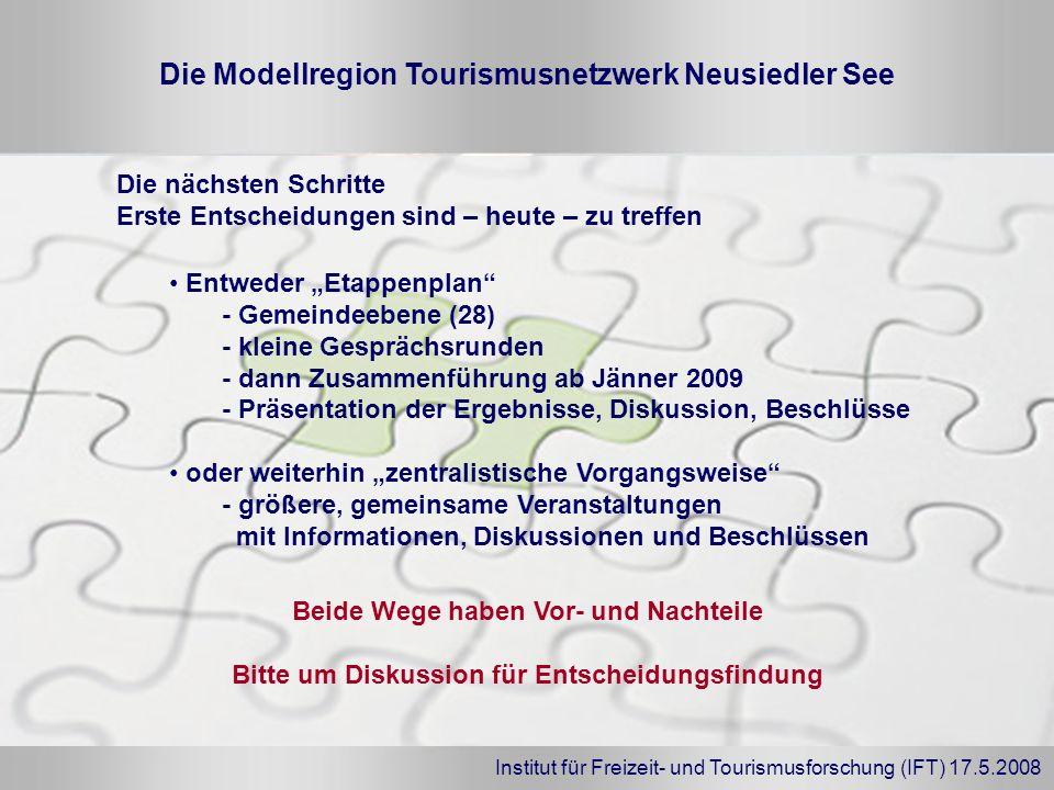 Institut für Freizeit- und Tourismusforschung (IFT) 17.5.2008 Die Modellregion Tourismusnetzwerk Neusiedler See Entweder Etappenplan - Gemeindeebene (