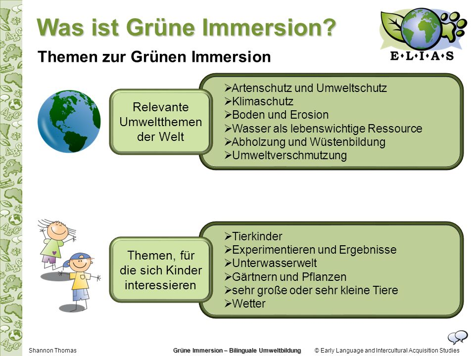 © Early Language and Intercultural Acquisition Studies Themen zur Grünen Immersion Artenschutz und Umweltschutz Klimaschutz Boden und Erosion Wasser a