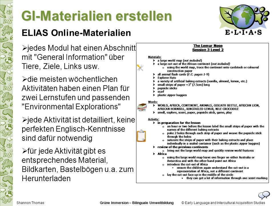 © Early Language and Intercultural Acquisition Studies ELIAS Online-Materialien jedes Modul hat einen Abschnitt mit