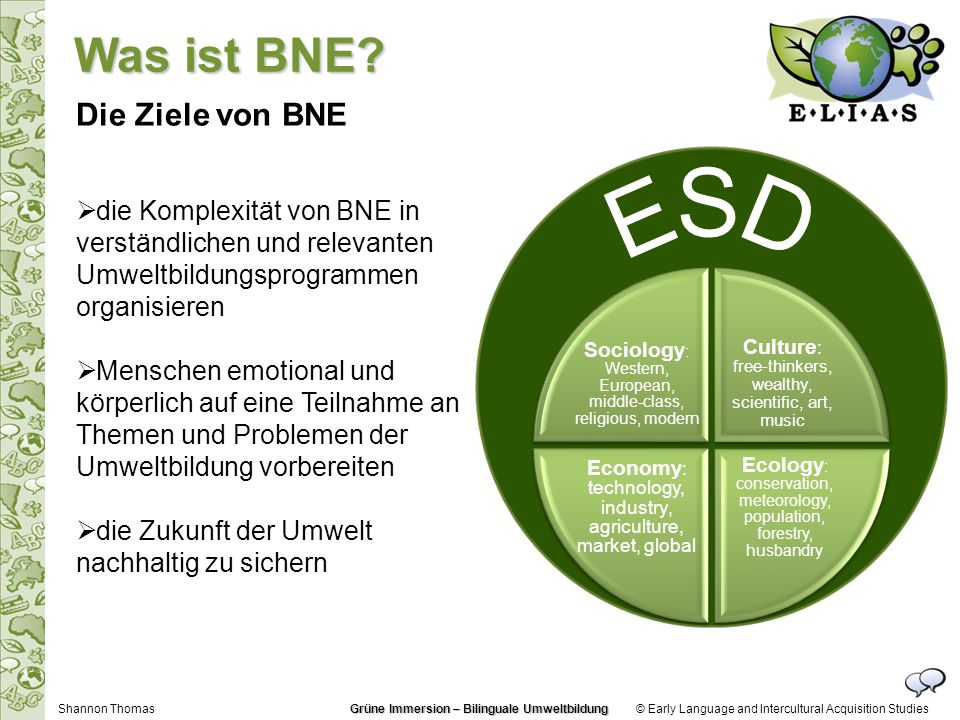 © Early Language and Intercultural Acquisition Studies Die Ziele von BNE die Komplexität von BNE in verständlichen und relevanten Umweltbildungsprogra