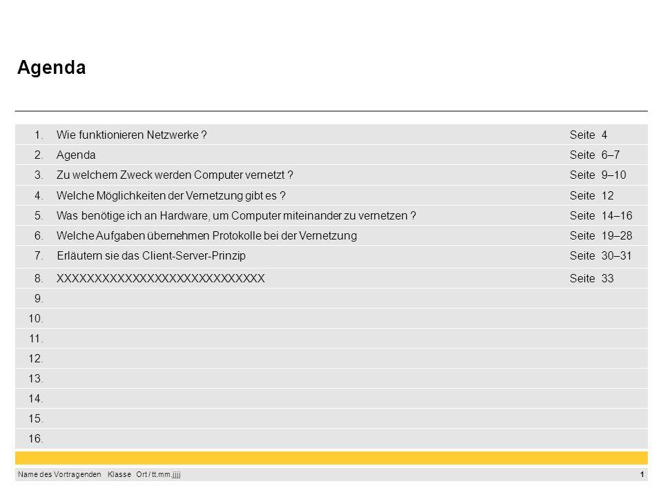 1 Name des Vortragenden Klasse Ort / tt.mm.jjjj 1.Wie funktionieren Netzwerke Seite4 2.AgendaSeite6–7 3.Zu welchem Zweck werden Computer vernetzt Seite9–10 4.Welche Möglichkeiten der Vernetzung gibt es Seite12 5.Was benötige ich an Hardware, um Computer miteinander zu vernetzen Seite14–16 6.Welche Aufgaben übernehmen Protokolle bei der VernetzungSeite19–28 7.Erläutern sie das Client-Server-PrinzipSeite30–31 8.XXXXXXXXXXXXXXXXXXXXXXXXXXXXSeite33 9.