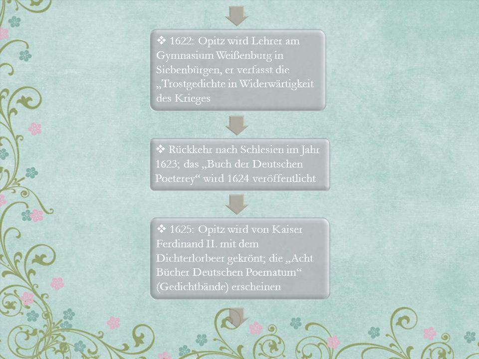 1622: Opitz wird Lehrer am Gymnasium Weißenburg in Siebenbürgen, er verfasst die Trostgedichte in Widerwärtigkeit des Krieges Rückkehr nach Schlesien