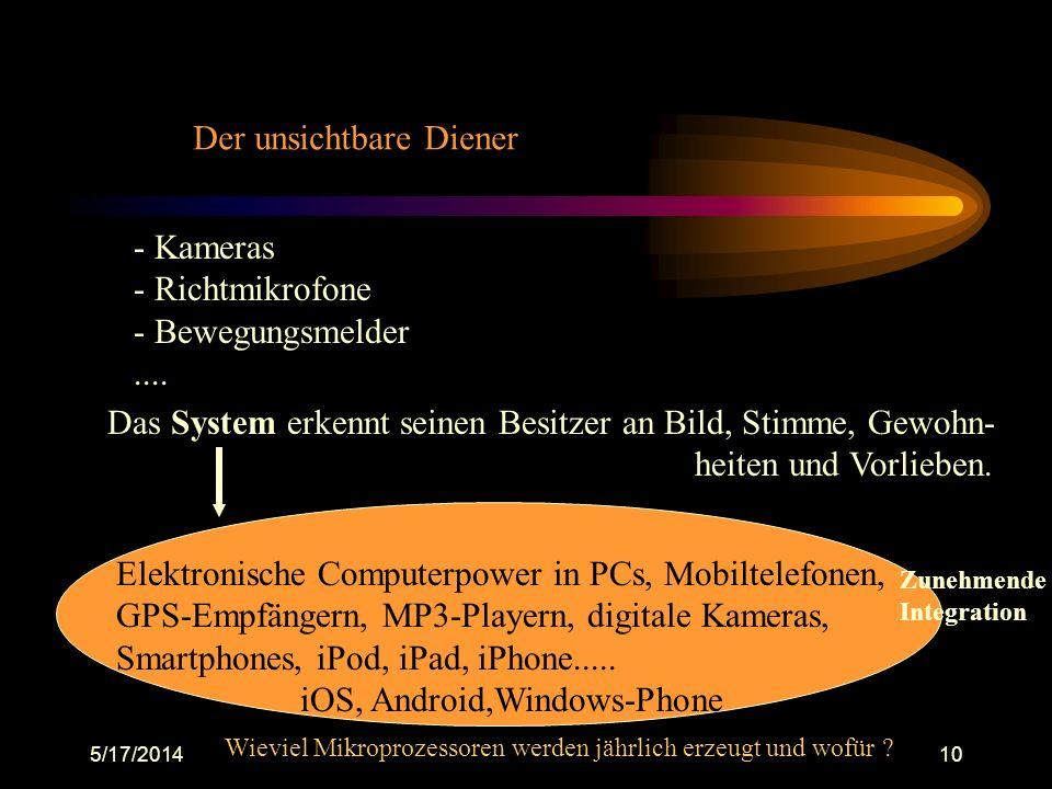 5/17/201410 Der unsichtbare Diener - Kameras - Richtmikrofone - Bewegungsmelder.... Das System erkennt seinen Besitzer an Bild, Stimme, Gewohn- heiten
