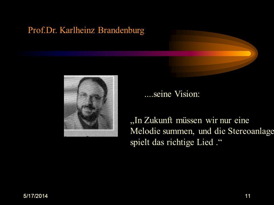 5/17/201411 Prof.Dr. Karlheinz Brandenburg....seine Vision: In Zukunft müssen wir nur eine Melodie summen, und die Stereoanlage spielt das richtige Li