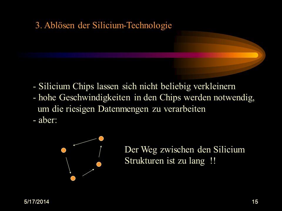 5/17/201415 3. Ablösen der Silicium-Technologie - Silicium Chips lassen sich nicht beliebig verkleinern - hohe Geschwindigkeiten in den Chips werden n
