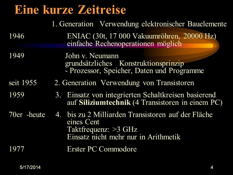 5/17/20144 Eine kurze Zeitreise 1. Generation Verwendung elektronischer Bauelemente 1946 ENIAC (30t, 17 000 Vakuumröhren, 20000 Hz) einfache Rechenope