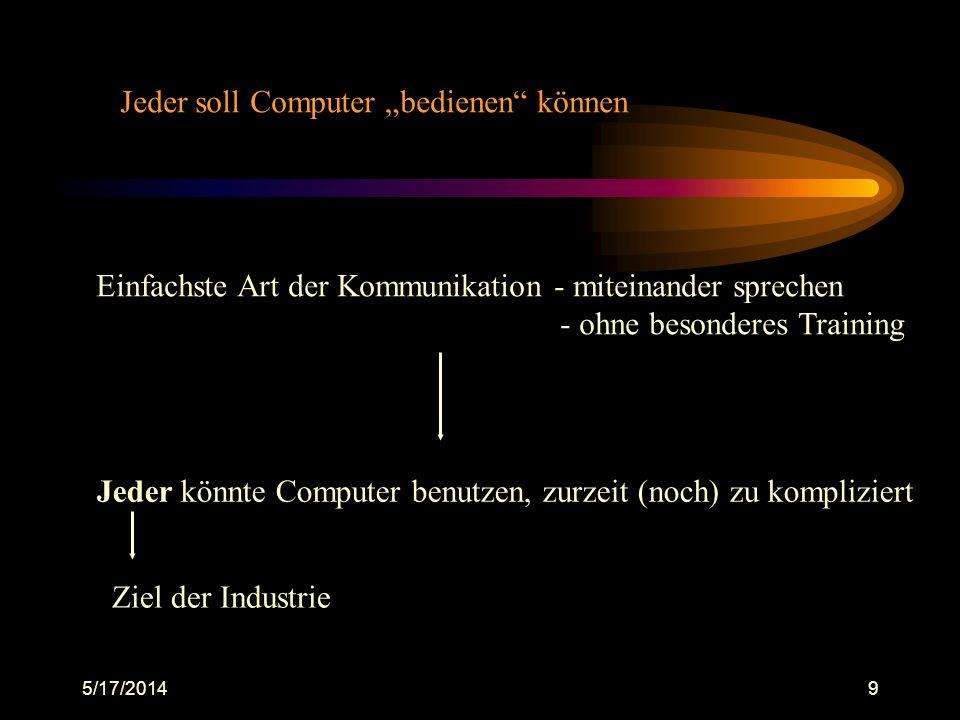 5/17/20149 Jeder soll Computer bedienen können Einfachste Art der Kommunikation - miteinander sprechen - ohne besonderes Training Jeder könnte Compute