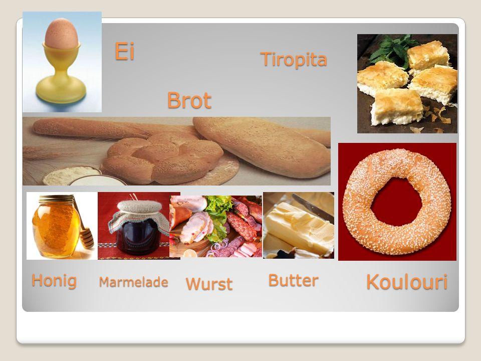 Brot TiropitaEi HonigMarmelade Wurst Butter Koulouri