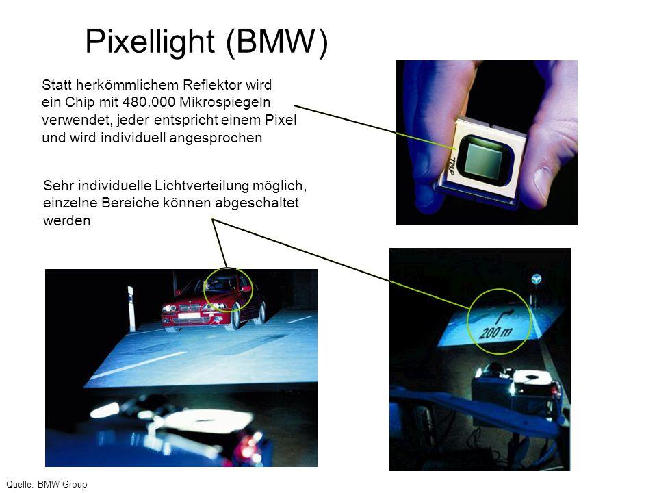 Pixellight (BMW) Statt herkömmlichem Reflektor wird ein Chip mit 480.000 Mikrospiegeln verwendet, jeder entspricht einem Pixel und wird individuell an
